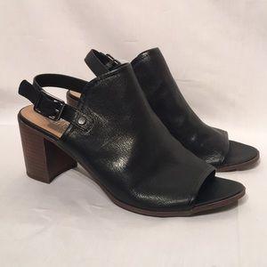 Franco Sarto Size 10 Black Peep Toe Mules